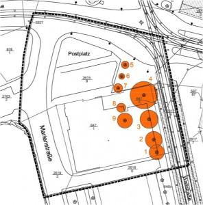 Orange markiert sind die Bäume, welche für den Bebauungsplan 54.2 gefällt werden.
