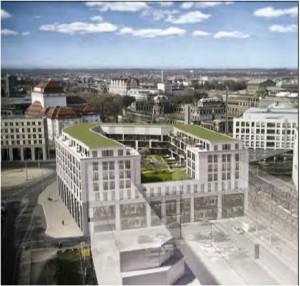 Ausschnitt des geplanten Gebäudes am Postplatz gemäß Bebauungsplan 54.2